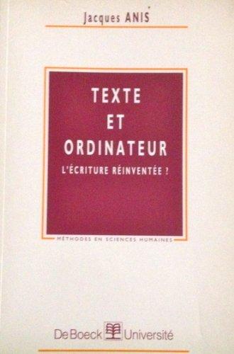 9782804129231: Texte et ordinateur. l'�criture reinventer ?