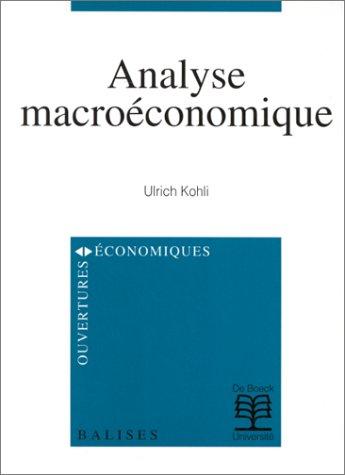 Analyse macroéconomique [Sep 06, 1999] Kohli, U.