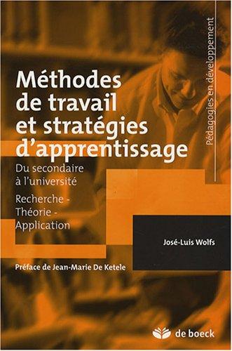 9782804156596: Méthodes de travail et stratégies d'apprentissage