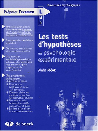 9782804156695: Les tests d'hypoth�ses en psychologie exp�rimentale