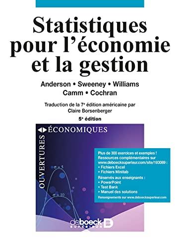 9782804193089: Statistiques Pour L'Economie Et La Gestion