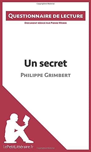 9782806261366: Questionnaire de lecture : Un secret de Philippe Grimbert