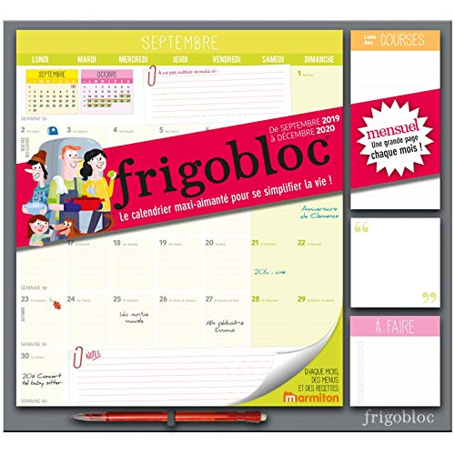 9782809665680: Frigobloc 2020 Mensuel - Calendrier d'organisation familiale par mois (de sept 2019 à décembre 2020): Le calendrier maxi-aimanté pour se simplifer la vie ! (P.BAC FRIGOGAMM)