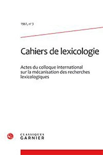 cahiers de lexicologie. 1961, n 3