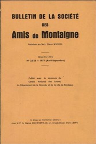 Bulletin de la societe des amis de montaigne. V, 1977-2, n 22-23: Société des amis de Montaigne