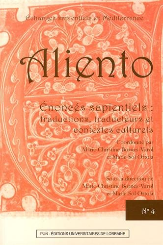 9782814301771: Aliento n°4 - enoncés sapientiels : traductions, traducteurs et contextes culturels