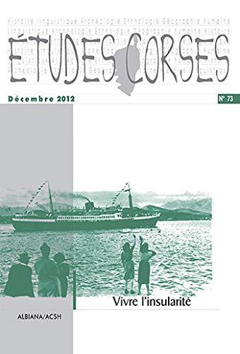 Etudes corses, N° 73, Décembre 2012 : Joseph Martinetti; Vannina