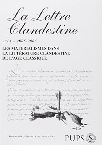 LETTRE CLANDESTINE 14. MATERIALISMES: COLLECTIF