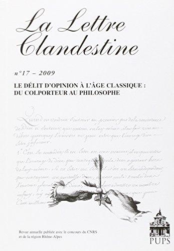 La Lettre Clandestine, N\textdegree 17 : Le délit d'opinion à l'âge ...