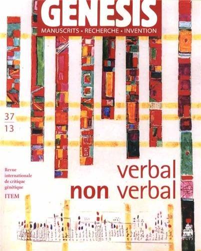 Genesis Manuscrits recherches invention No 37 Verbal non verbal: Crasson Aurele