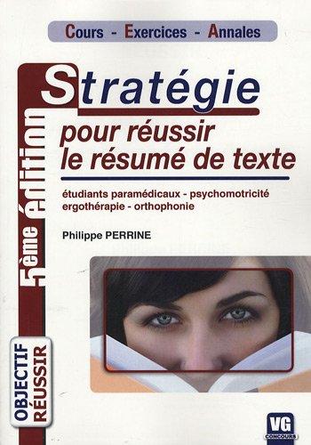 9782841369294: Stratégie pour réussir le résumé de texte