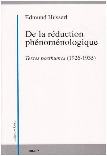De la réduction phénoménologique: Husserl, Edmund