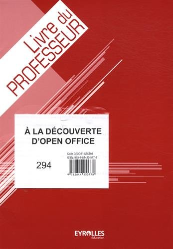 9782844255778: Corrige Découverte Open Office