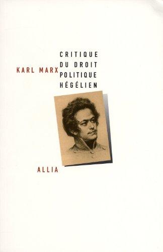 9782844853622: Critique du droit politique hégélien