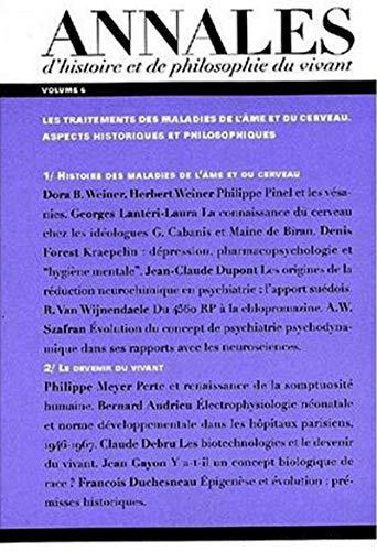 """""""les annales d'histoire philosophique du vivant t.6 ; les maladies de l'ame et du ..."""