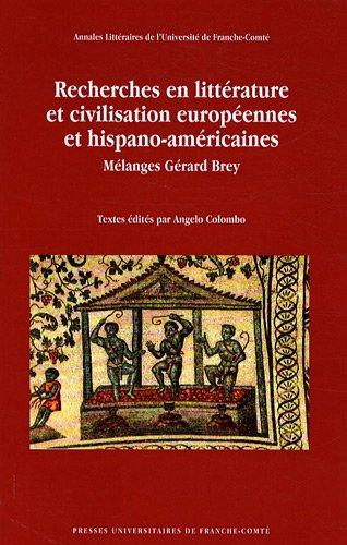 Recherches en littérature et civilisation européennes et: Angelo Colombo
