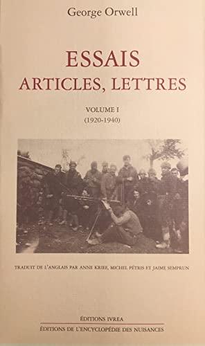 9782851842466: Essais, articles, lettres, tome 1