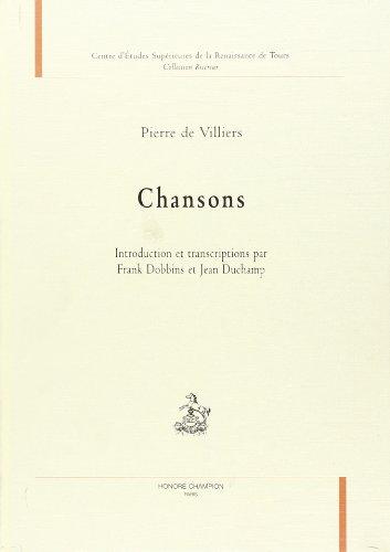9782852037373: Chansons. Introduction et Transcriptions par Frank Dobbins et Jean Duchamp.