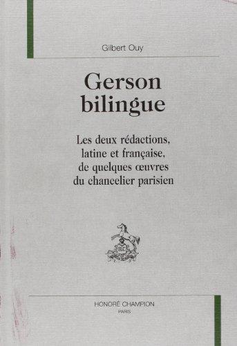 9782852038240: Gerson bilingue. les deux redactions, latine et française (Études christiniennes)