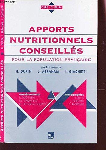 9782852067271: APPORTS NUTRITIONNELS CONSEILLES POUR LA POPULATION FRANCAISE. Edition 1997