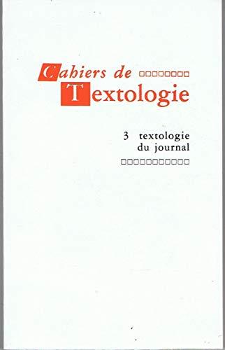9782852100343: Textologie du journal (Cahiers de textologie) (French Edition)