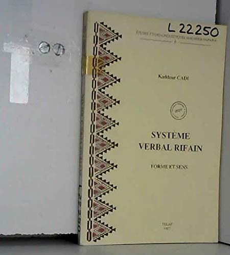 9782852971950: Système verbal rifain: Forme et sens linguistique tamaziqht (nord marocain)