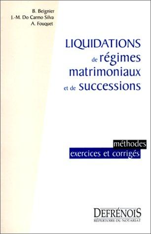 9782856230350: Liquidation régimes matrimoniaux et successions. methodes exercices et corriges