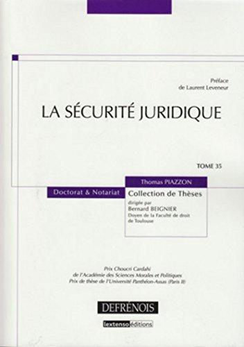 9782856231586: La sécurité juridique (French Edition)
