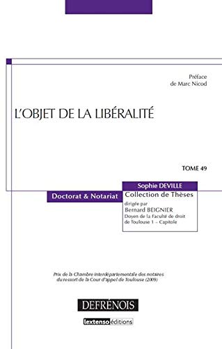 L' objet de la libéralité t.49: Sophie Deville
