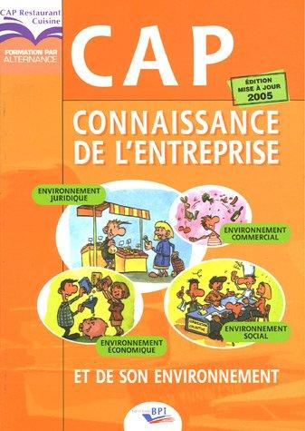 9782857084143: Connaissance de l'entreprise et de son environnement CAP Cuisine et restaurant