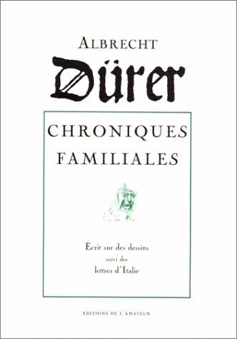 9782859172190: Albrecht Durer, chroniques familiales