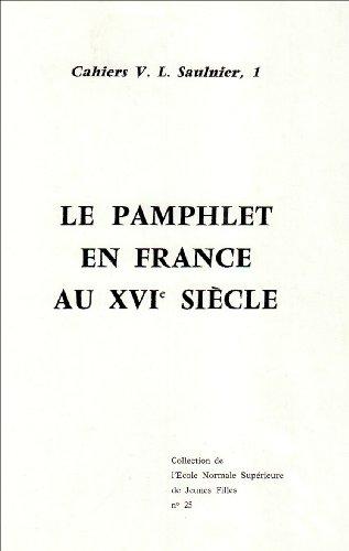 Pamphlet en France au XVIeme siecle: Cazauran
