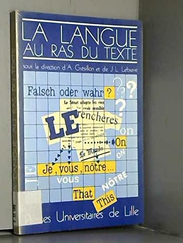 9782859392277: La Langue au ras du texte (Linguistique) (French Edition)