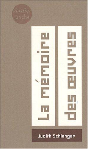 9782864325284: La m�moire des oeuvres (Verdier Poche)