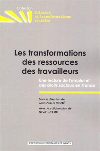 LES TRANSFORMATIONS DES RESSOURCES DES TRAVAILLEURS. UNE LECTURE DE L 'EMPLOI ET DES DROITS ...