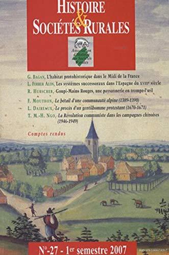 Histoire & sociétés rurales, n° 27