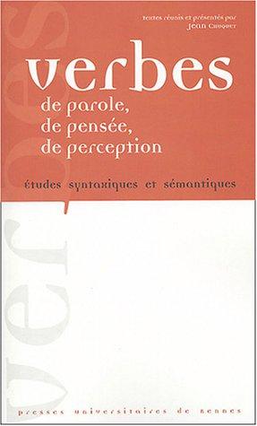 VERBES DE PAROLE DE PENSEE DE PERCEPTION: CHUQUET,JEAN