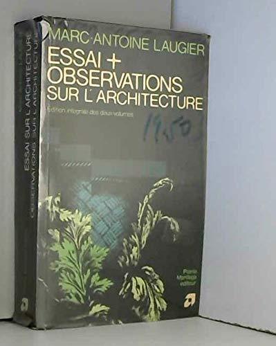 9782870090961: Essais et Observations Sur l'Architecture