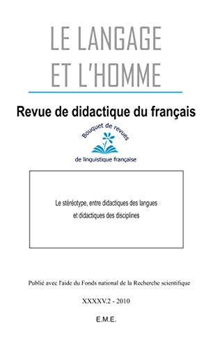 Revue de didactique du français. 45,2 Fernelmont.: Le langage et l'homme