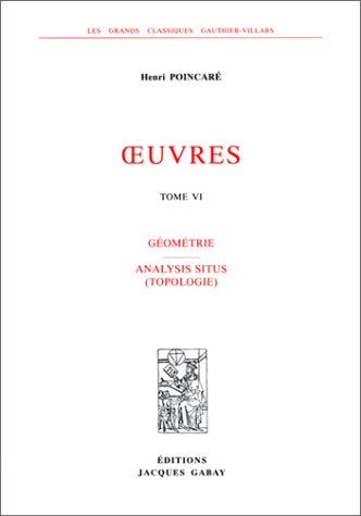 9782876471764: Analysis Situs (Topologie) Collected Vol VI