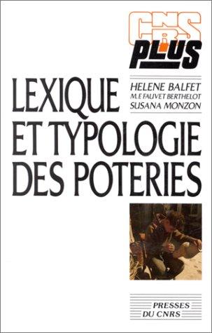 9782876820265: Lexique et typologie des poteries
