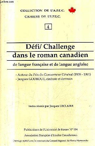 De�fi-challenge dans le roman canadien de langue: Collectif