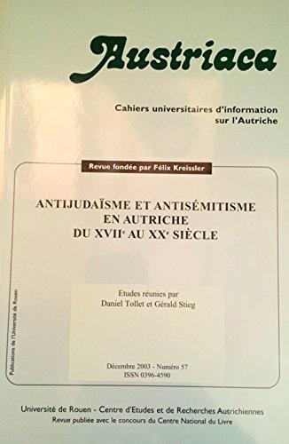 9782877753838: antijudaïsme et antisémitisme en Autriche du 17e au 20e siècle