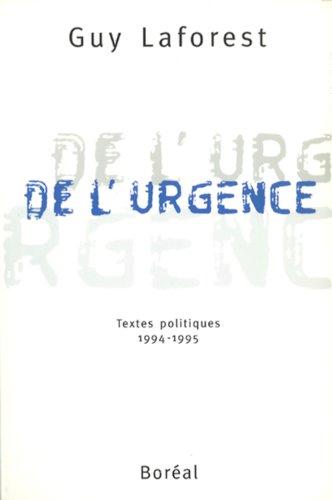 9782890527171: De l'urgence: Textes politiques, 1995 (French Edition)