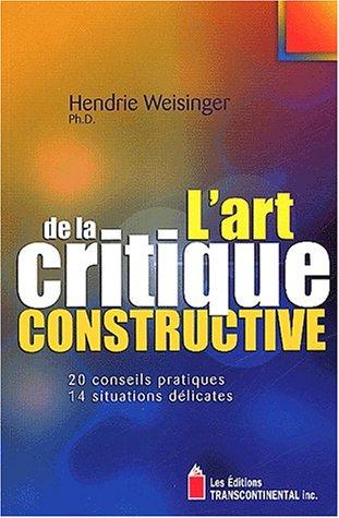 9782894721391: L'art de la critique constructive