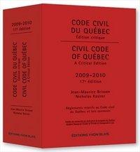 9782896352524: Code Civil Du Québec: Edition Critique 2009-2010