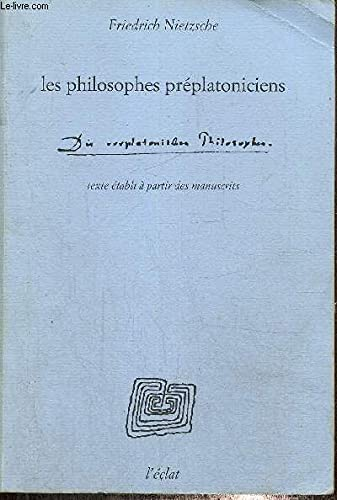 9782905372994: Les philosophes préplatoniciens