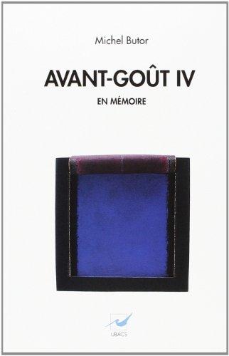 9782905373564: Avant-goût IV: En mémoire
