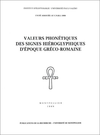 9782905397270: Valeurs phonétiques des signes hiéroglyphiques d'époque gréco-romaine, tome 4