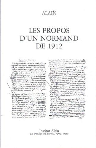 Propos D'un Normand De 1912: Alain